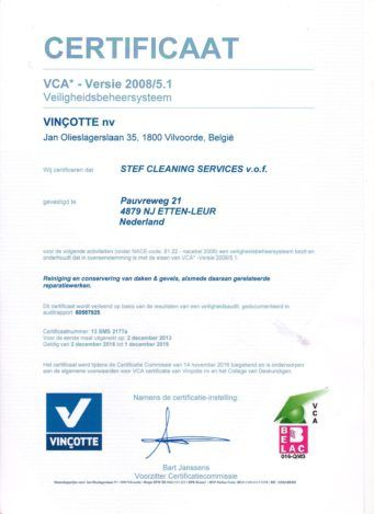 VCA Certificaat Stef Cleaning Services